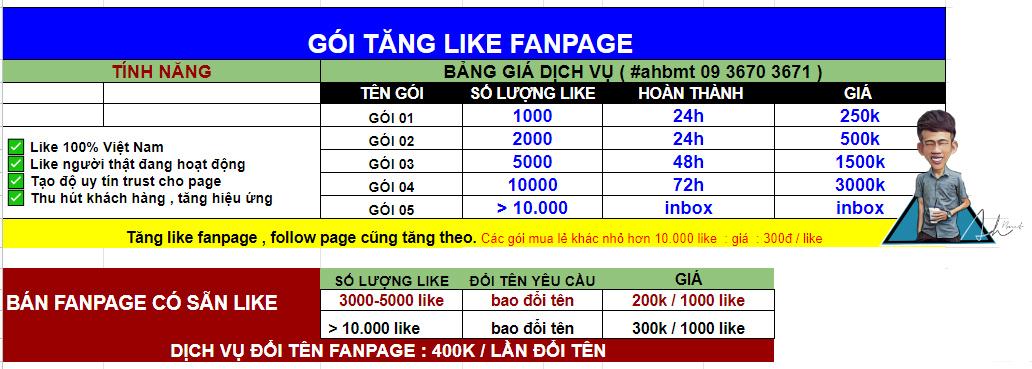 dịch vụ tăng like fanpage azt